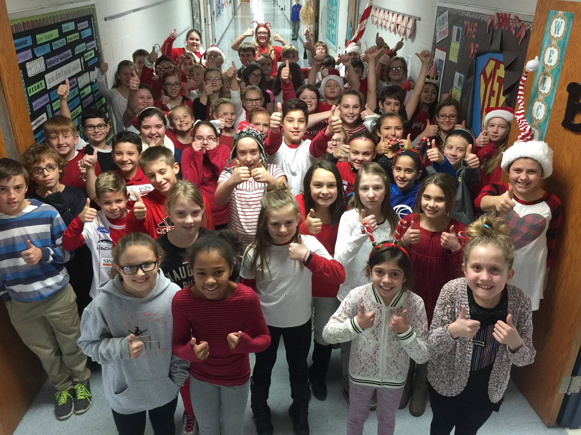 5th grade Candy Cane Day!  Thumbs up to candy canes!