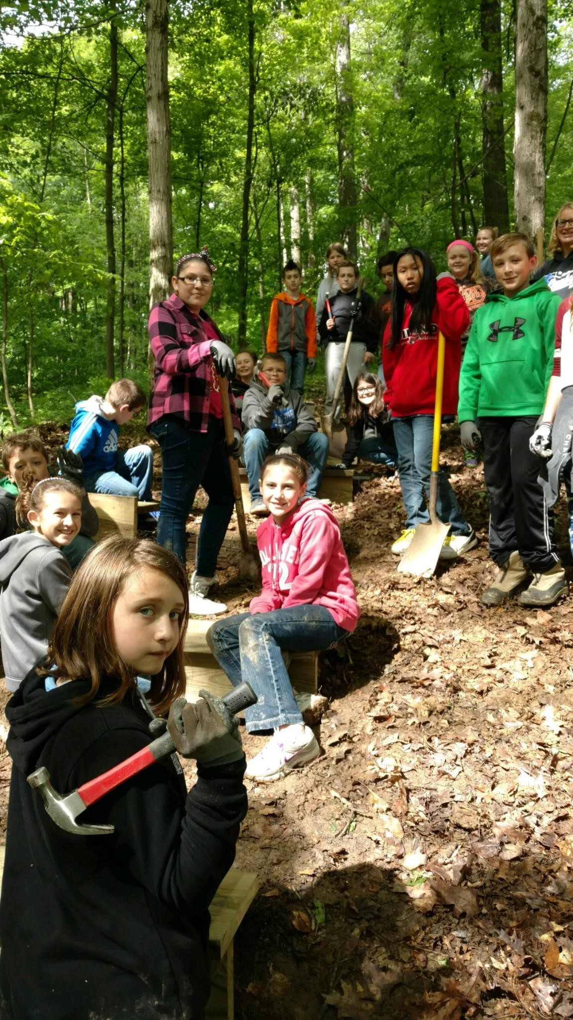 5th Gr Outdoor Ed-smile while helping!