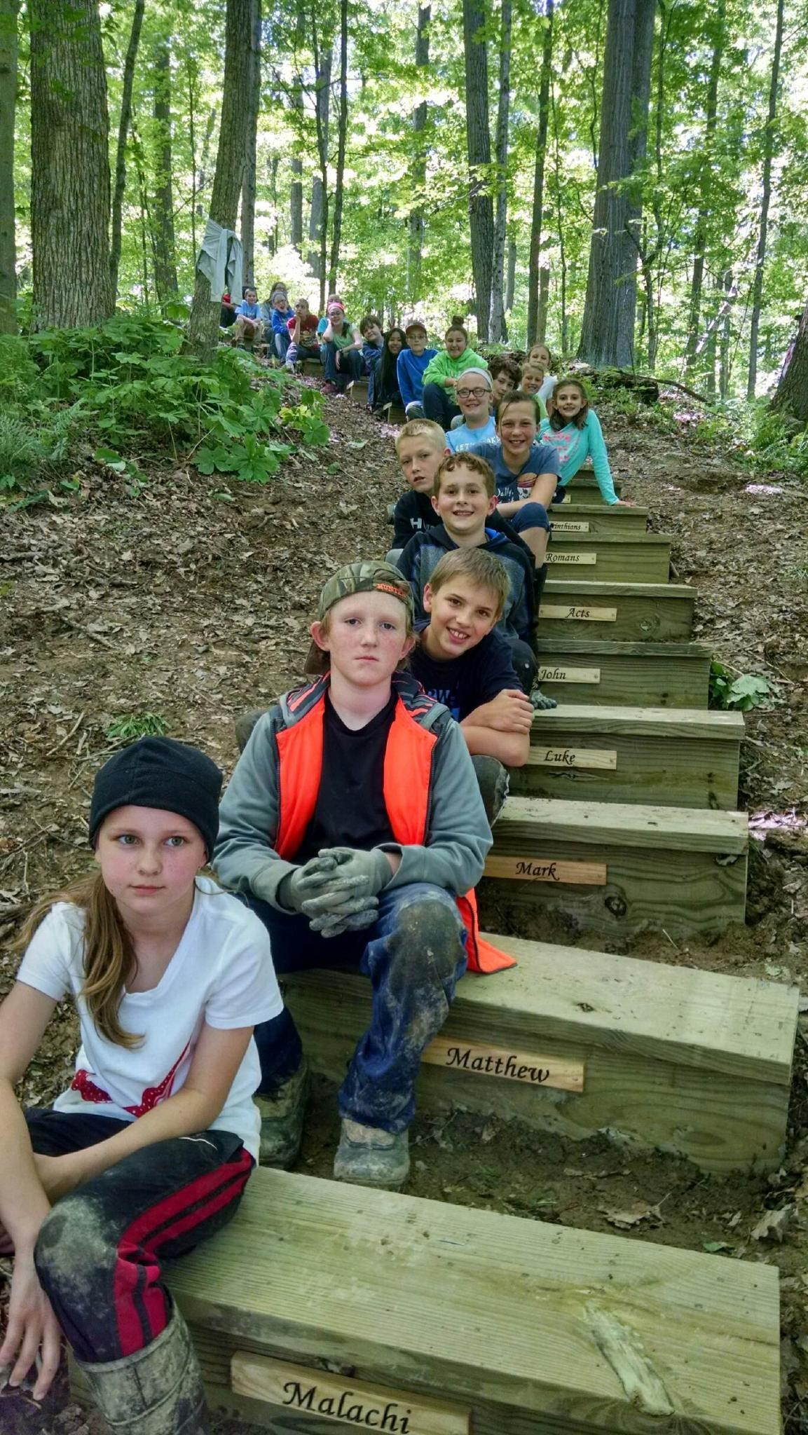 5th Grade Outdoor Ed showing Faith Steps!