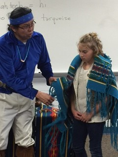 Mr. Butler, from the Navajo tribe, brought items to share with students.