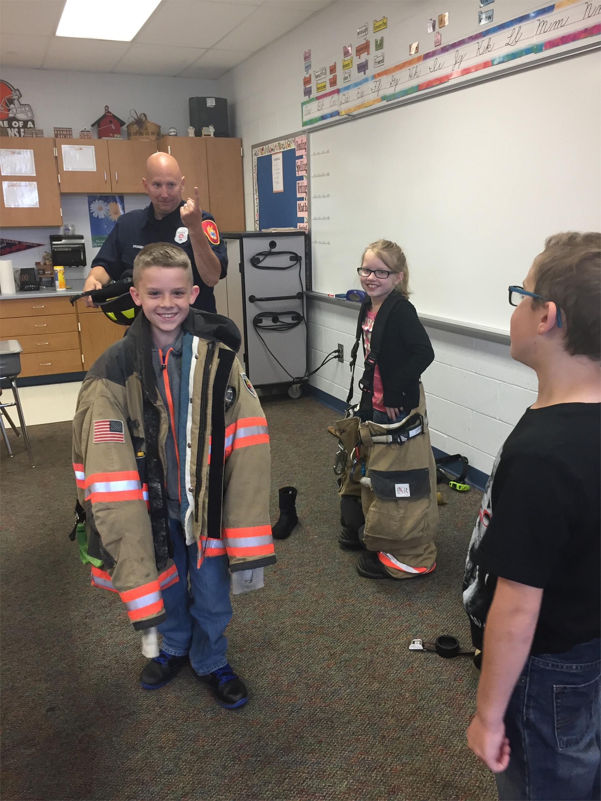 Mr. Springer showed us how to put on the gear!