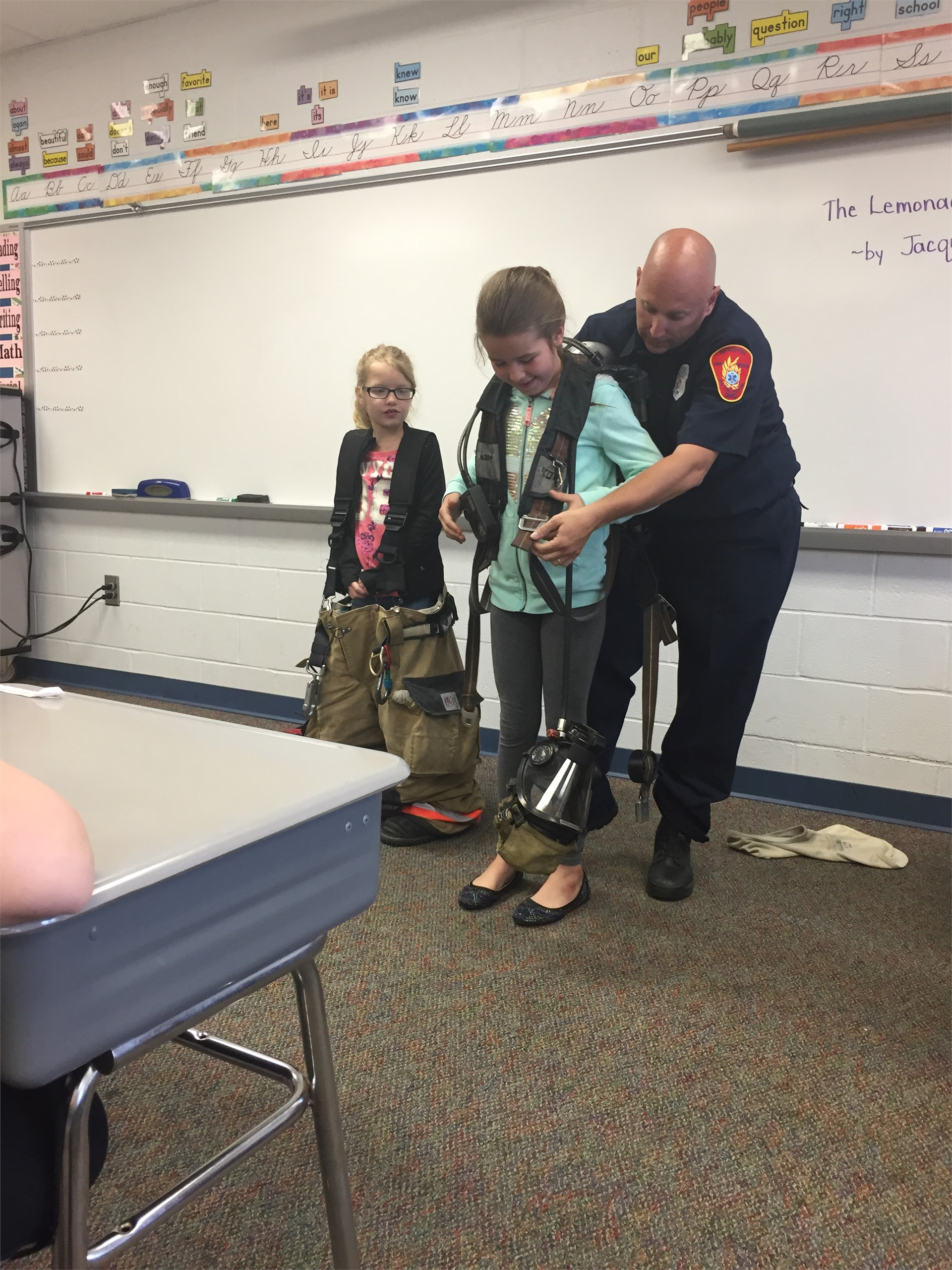 Fireman, Mike Springer, came to 3rd grade for Science/Career Day!