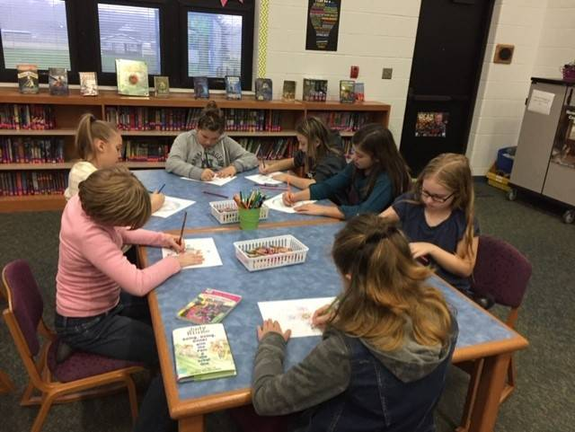 Mr. Kline's (5th grade)  class deep in thought with the coloring contest
