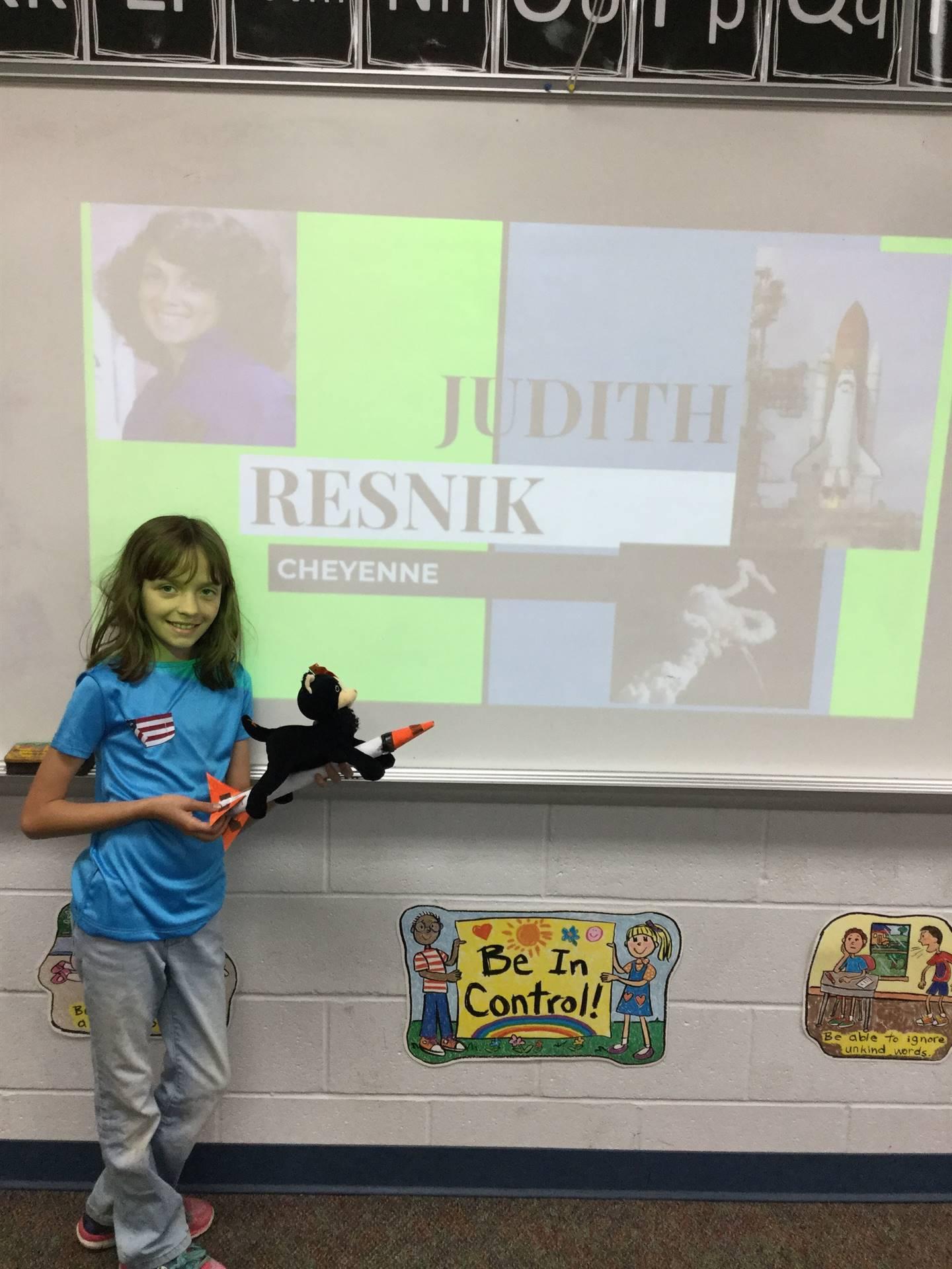 Cheyenne showing Judy Resnik