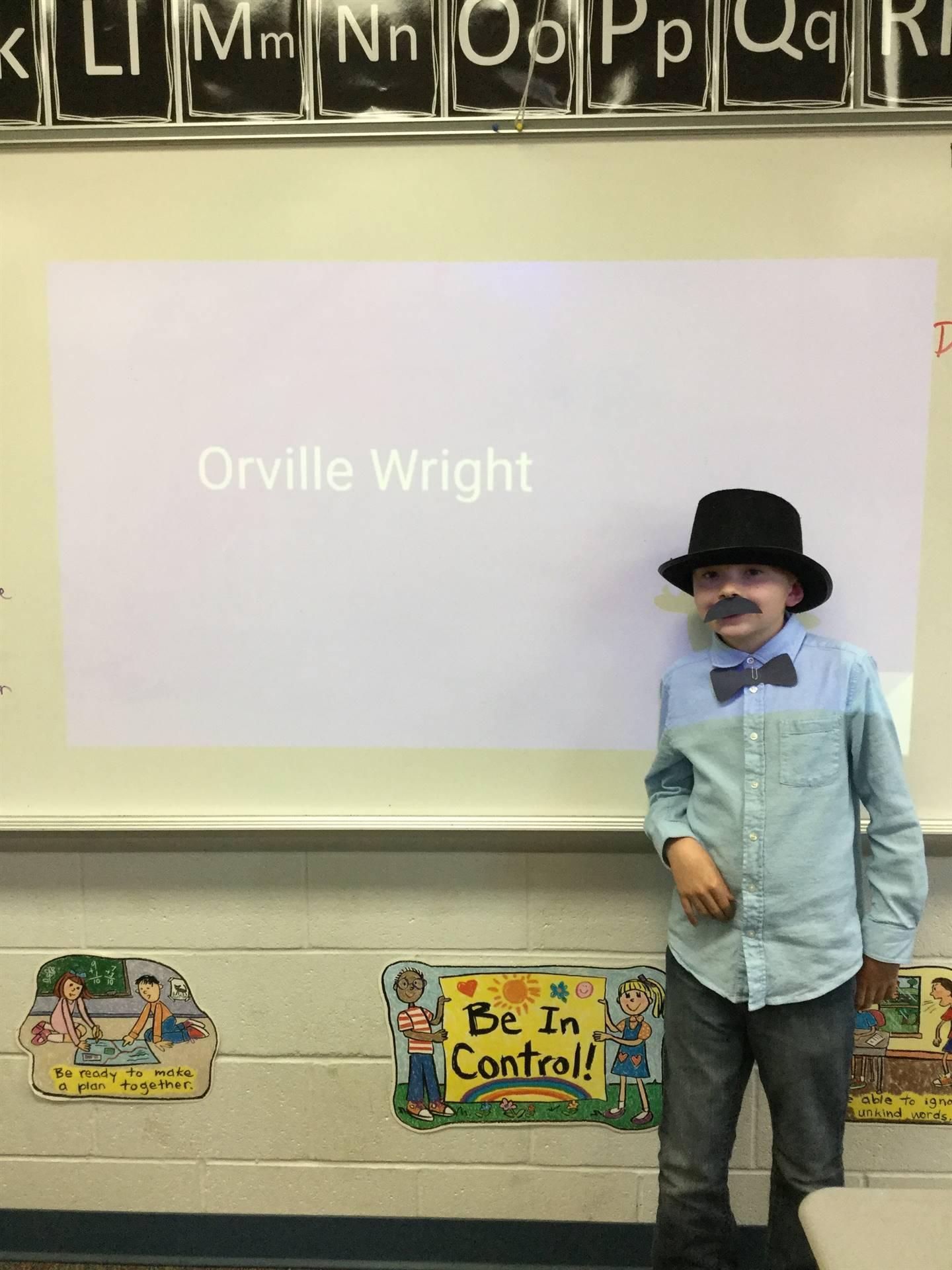 Garrett teaching us about Ohioan, Orville Wright