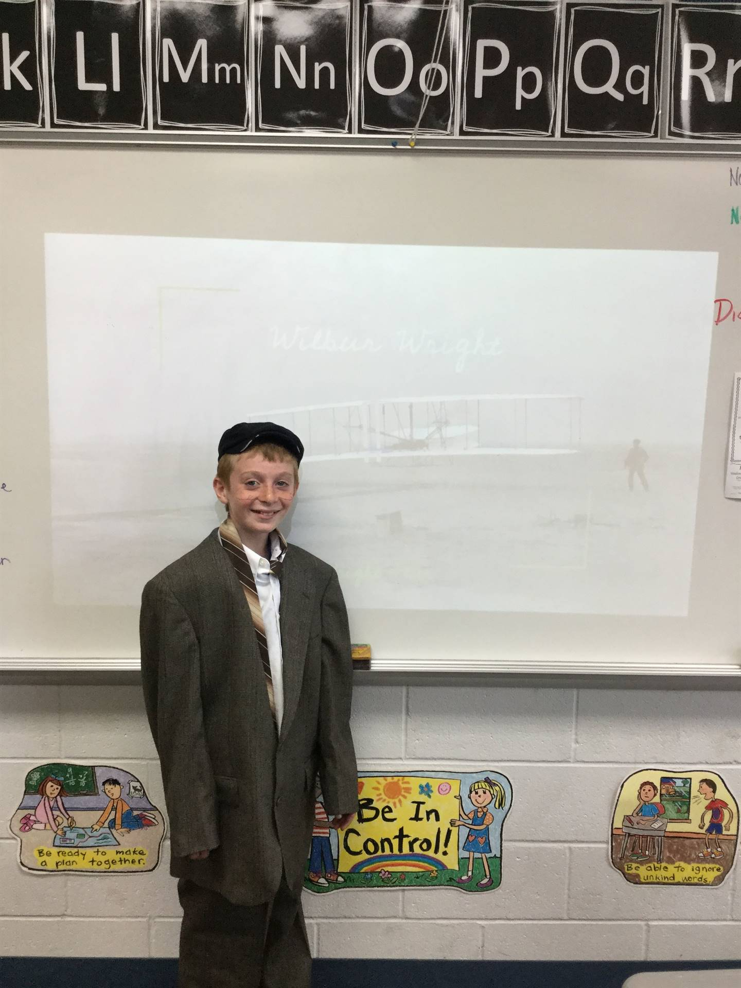 4th Graders teaching us about Famous Ohioans!  Bricen is Wilbur Wright!