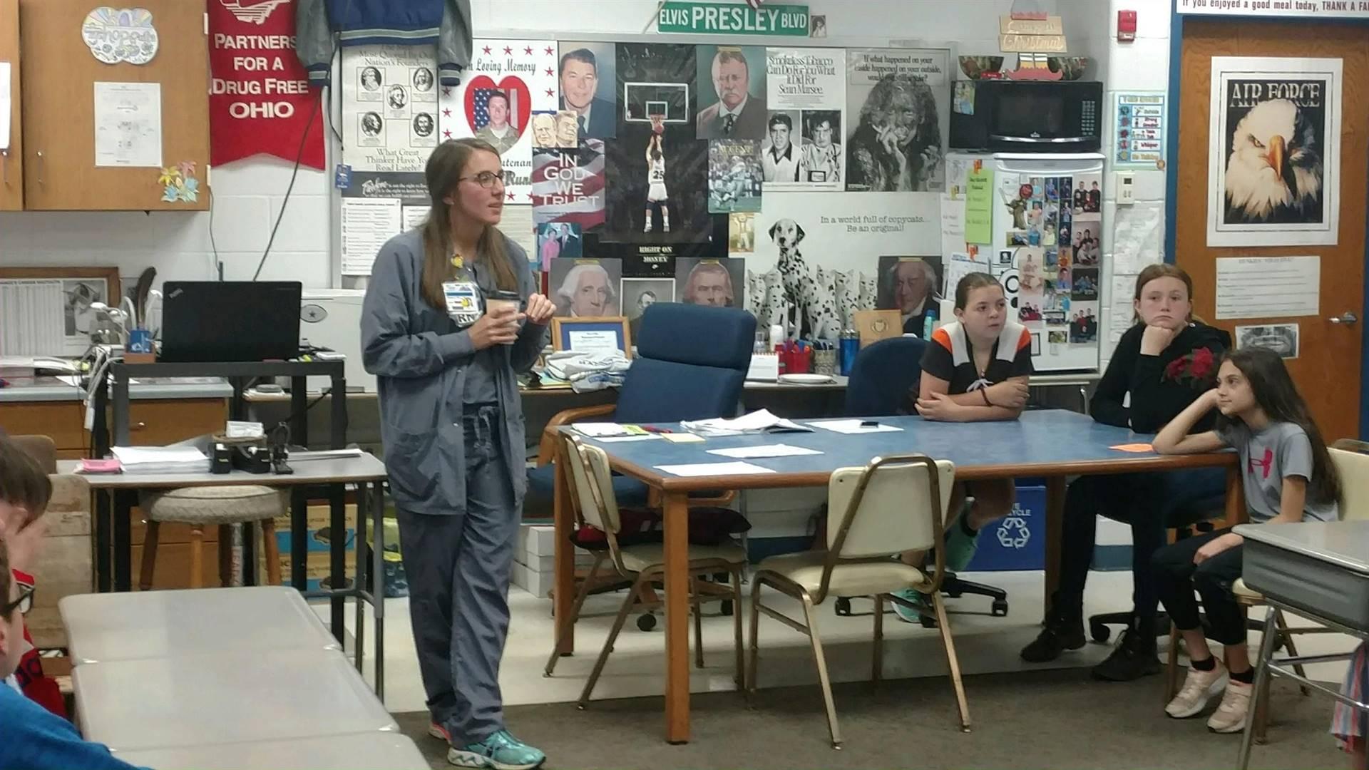 5th Grade Career Day!  Learning from nurse, Mrs. Kline!