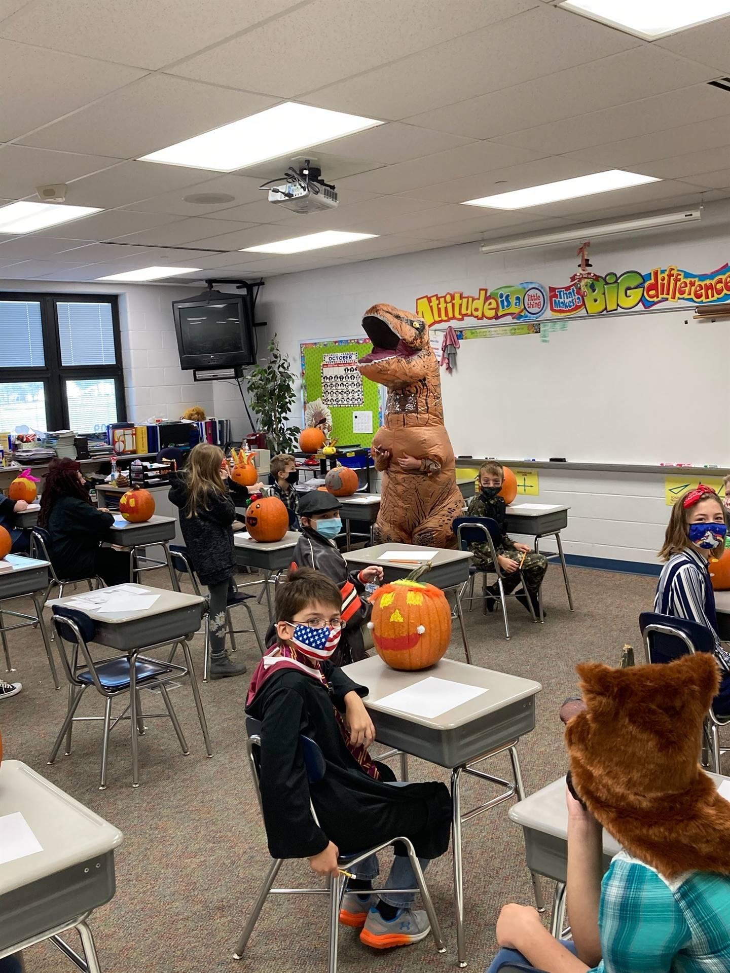 T-Rex teaching 4th grade Math!