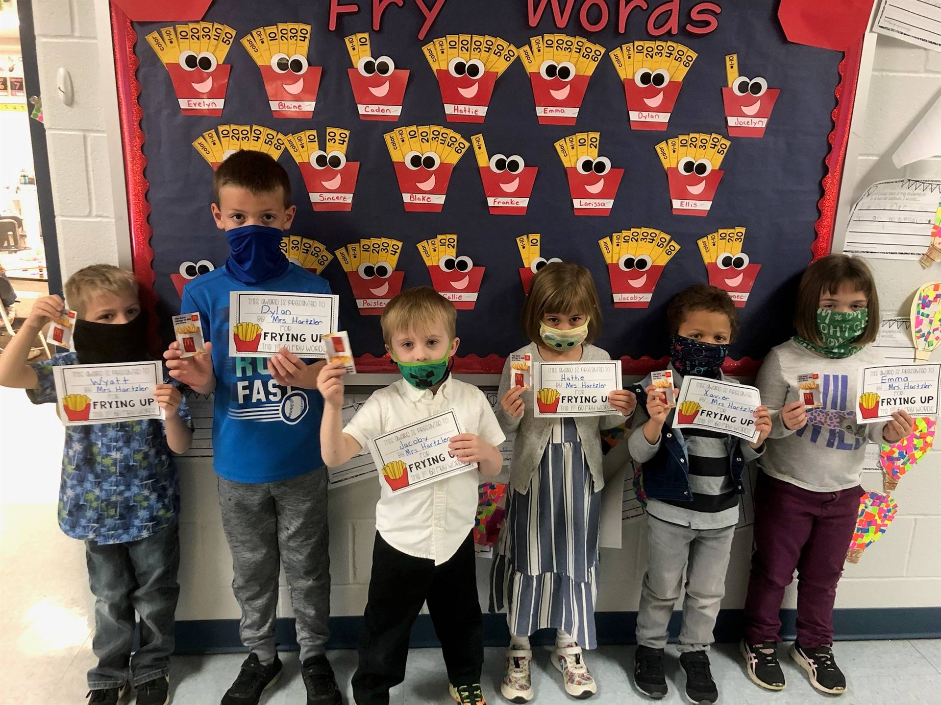 These kindergarteners mastered their fry words & got free McDonald fries!