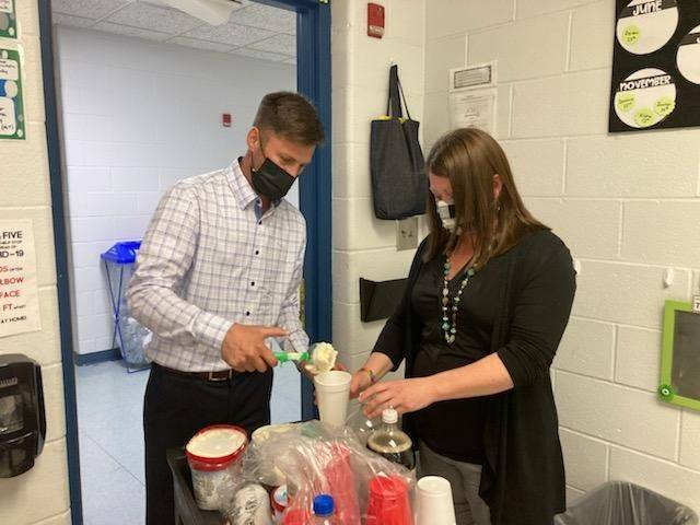 Mr. Brightbill/Mrs. McQuate making root beer floats for Teacher/Staff Appreciation Week!